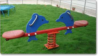 SEE-SAWS • STANDARD SEE-SAW SPECIFICATIONS: PRODUCT CODE: PGSS 01 AGE GROUP: 4-10 YRS. PRODUCT AREA: 2.5, X 0.3 MTS SAFE PLAY AREA: 3.5, X 1.3 MTS PRODUCT HEIGHT: 1.2 MTS • MULTISEATER SEE-SAW SPECIFICATIONS: PRODUCT CODE: PGSS 04 AGE GROUP: 3-10 YRS. PRODUCT AREA: 3.0, X 0.5 MTS SAFE PLAY AREA: 4.0, X 1.5 MTS PRODUCT HEIGHT: 1.2 MTS • ELEPHANT SEE-SAW SPECIFICATIONS: PRODUCT CODE: PGSS 06 AGE GROUP: 3-8 YRS. PRODUCT AREA: 1.9, X 0.3 MTS SAFE PLAY AREA: 2.9, X 1.3 MTS PRODUCT HEIGHT: 1.2 MTS • DOLPHIN SEE-SAW SPECIFICATIONS: PRODUCT CODE: PGSS 07 AGE GROUP: 3-8 YRS. PRODUCT AREA: 1.9, X 0.3 MTS SAFE PLAY AREA: 2.9, X 1.3 MTS PRODUCT HEIGHT: 1.2 MTS